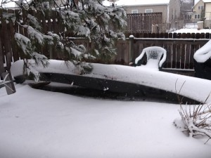 Our Canoe During a Snowstorm in April 2013
